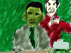 "Political cartoon by Nick, ""Obama's Faustian Bargain"""