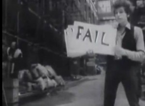 from an early Bob Dylan music video, in which he captions the song with signs that he flips through for every word of the lyrics