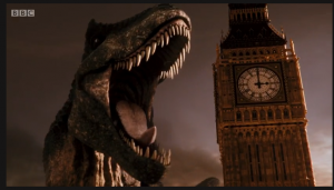"from the beginning moments of the new Doctor Who series opener ""Deep Breath,"" this Tyrannosaur roars at ringing Big Ben clock in London like I'M LOUDER THAN YOU! Epic."
